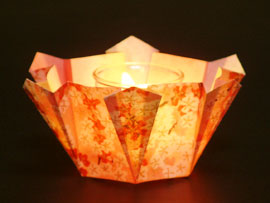 Origami candle holder